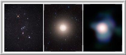 A constelação de Orion é facilmente reconhecida pelas três estrelas que fazem parte do seu cinturão, tendo a vermelha Betelgeuse no ombro do caçador, indicada por uma marca na figura mais a esquerda. Ampliando a imagem em Betelgeuse (centro) e na direita a imagem mais nítida da estrela já obtida até hoje com o conjunto de instrumentos NACO localizados no Very Large Telescope do ESO. Imagem: ESO, P.KErvella, Digitized Sky Survey 2 e A. Fujii.
