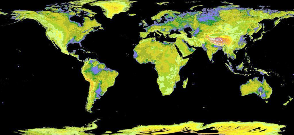 Mapa de Elevação Digital Global. Crédito: NASA