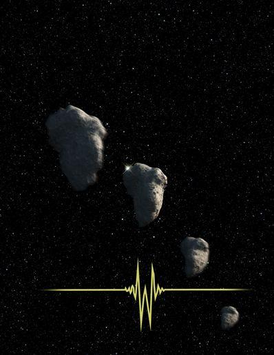 Uma impressão artística do cometa se movendo em frente da estrela. Como pesquisado ele causou uma perturbação de 0.3 segundos na luz da estrela captada (linha amarela). Imagem NASA, ESA e G. Bacon (STScI).