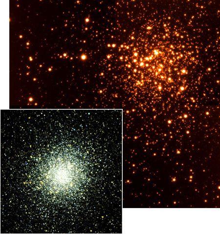 Aglomerados globulares como o Terzan 5 e o M22 (em destaque) são restos de outras galáxias devoradas pela Via Láctea.