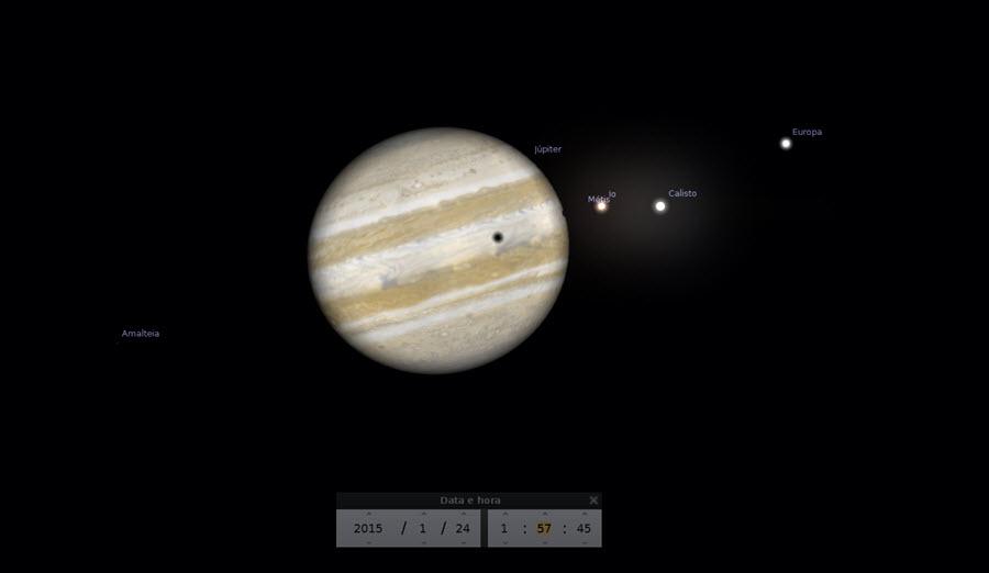 01:57 - Sombra da lua Calisto começa a transitar o disco de Júpiter.