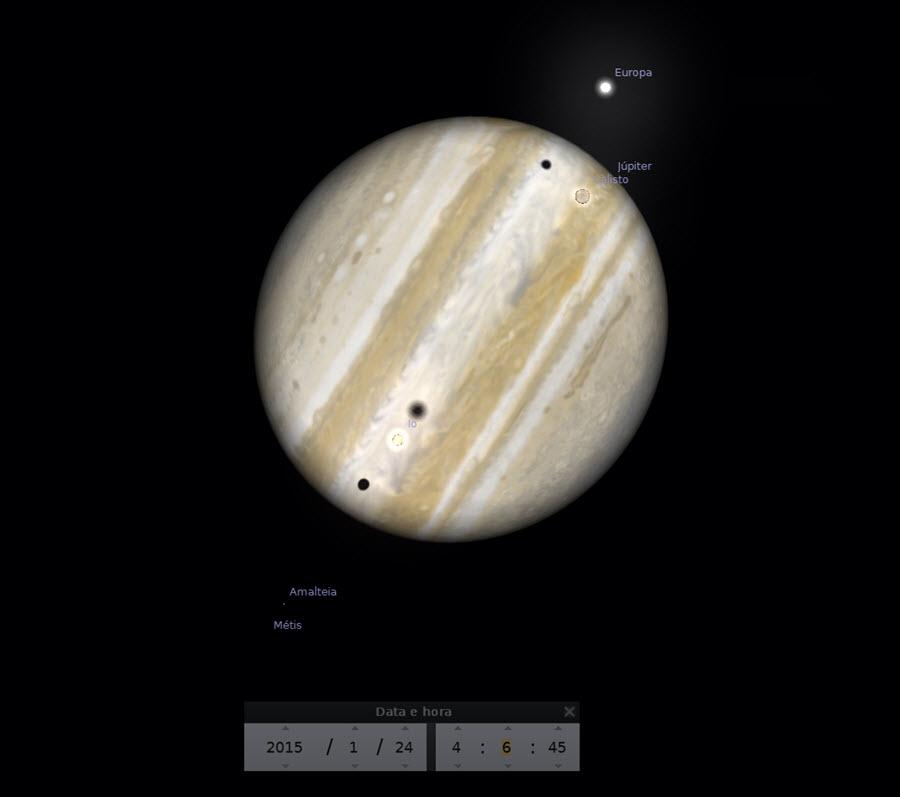 Máximo do trânsito triplo das sombras - 04:06 - as três sombras podem ser vistas no disco do planeta Júpiter.