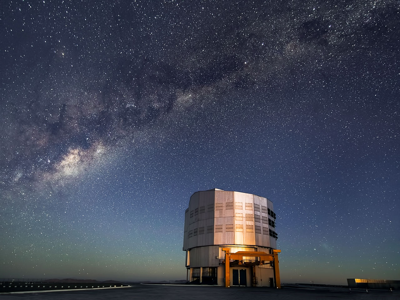 Milky Way Emerges as Sun Sets over Paranal