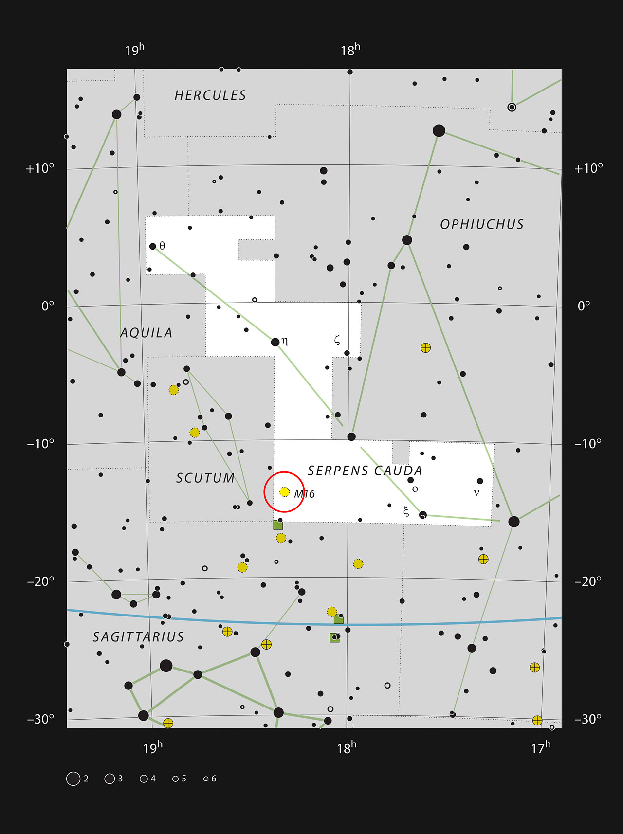 Messier 16 in the constellation of Serpens Cauda (The Tail of th