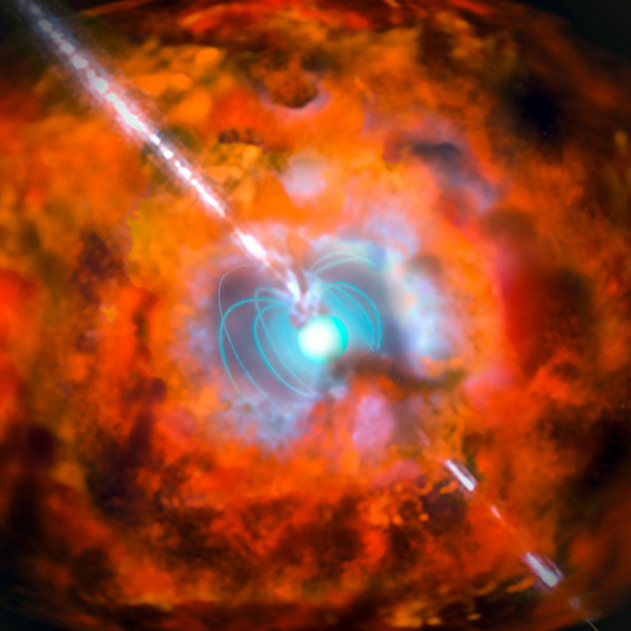 Artist's impression of a gamma-ray burst and supernova powered