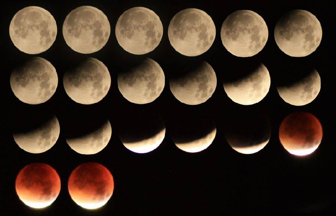 """Bonus EPOD Kiran Chakravarti sent this image taken 09/28/2015 from Hertfordshire, United Kingdom He writes: """"The Eclipse of the Supermoon was a spectacular sight above the skies of Hertfordshire. I was amazed at how dark the Moon went during totality. I decided to do a composite of the eclipse as it makes the progression of the Earth's shadow across the lunar disk more visible."""""""