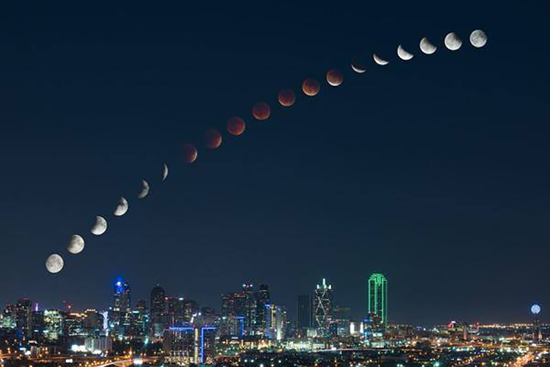 Total Lunar Eclipse composite Sunday night from Dallas, Texas. — with Mosxova Maria and Maria Mosxova.