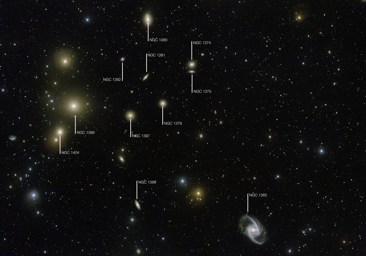 Finding Chart for the Fornax Galaxy Cluster