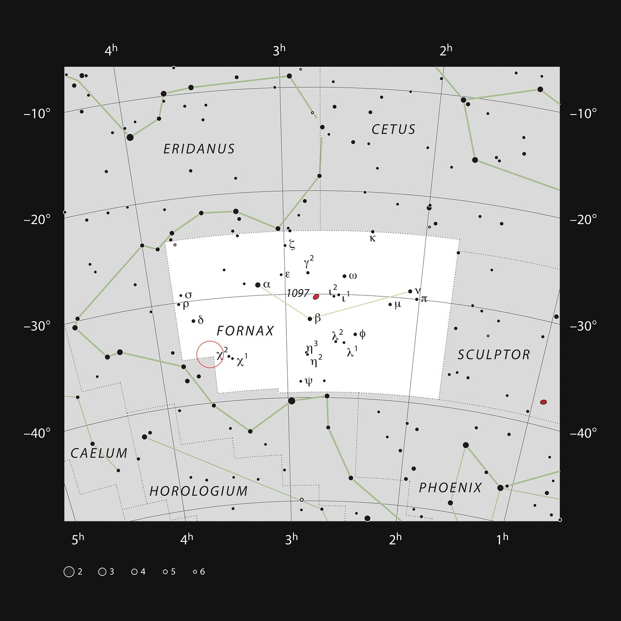 The location of the Fornax Galaxy Cluster
