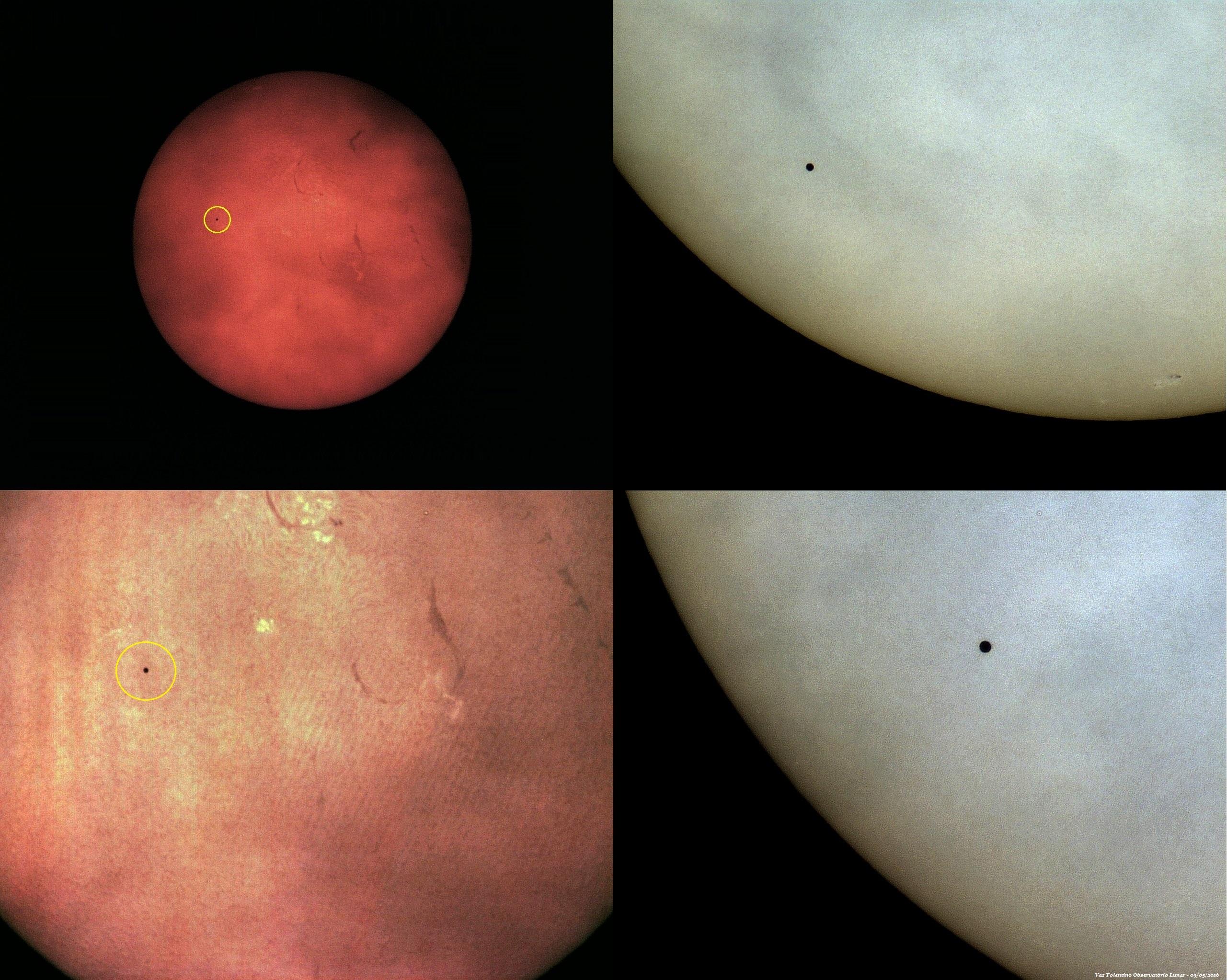 Composição fotográfica obtida através das nuvens, mostrando alguns momentos do trânsito de Mercúrio em 09 de maio de 2016 – fotos com apenas 1 frame – VTOL.